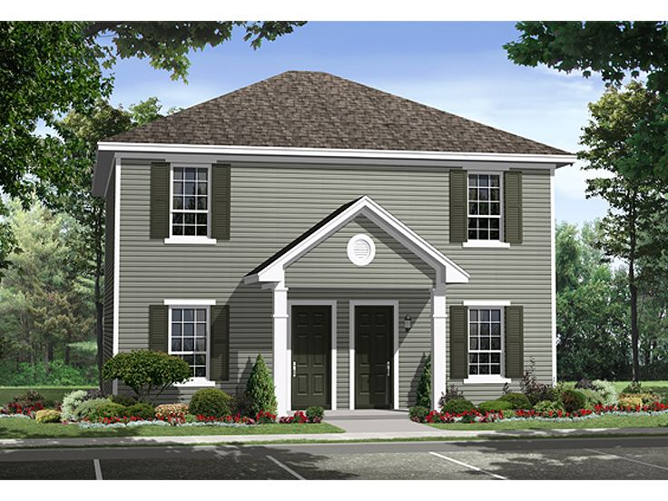 Duplex house plans two story multi family home plan One story duplex house plans