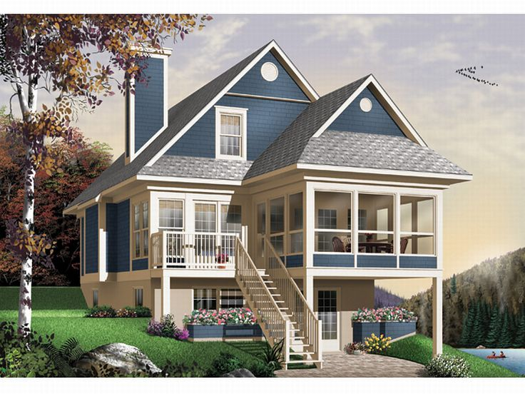 Plan 027h 0141 find unique house plans home plans and for Waterfront home plans sloping lots