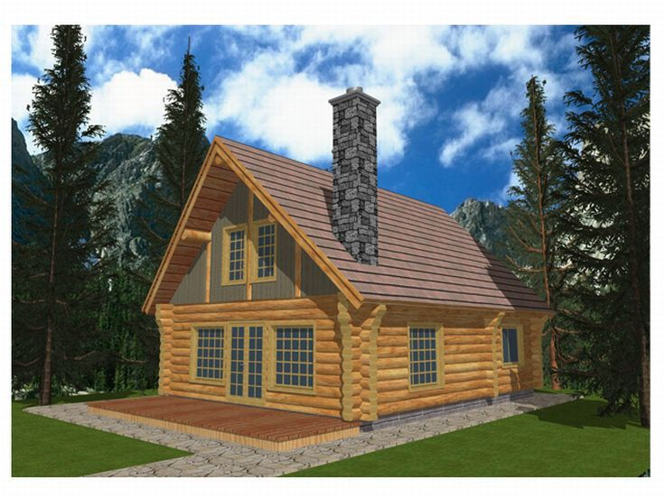 Log Cabin House Plan, 012L-0020