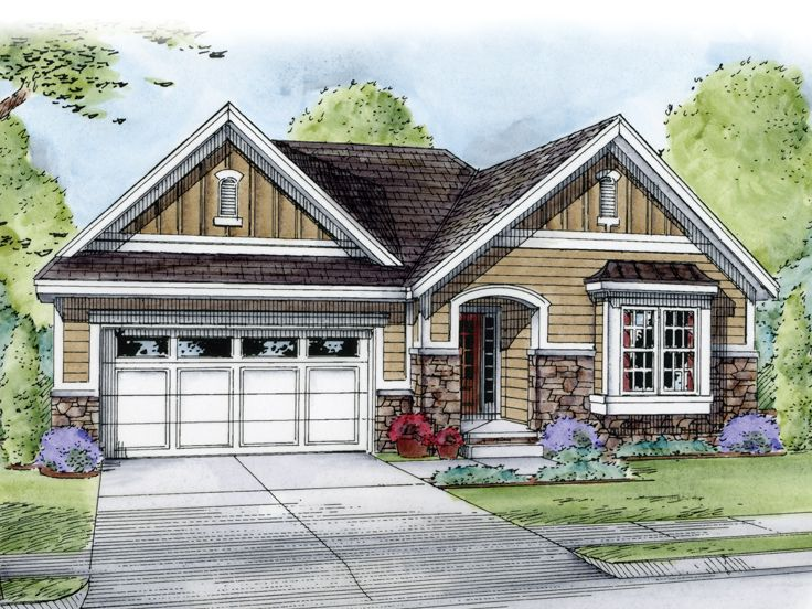 One Story House Plans European Style Ranch Home Plan