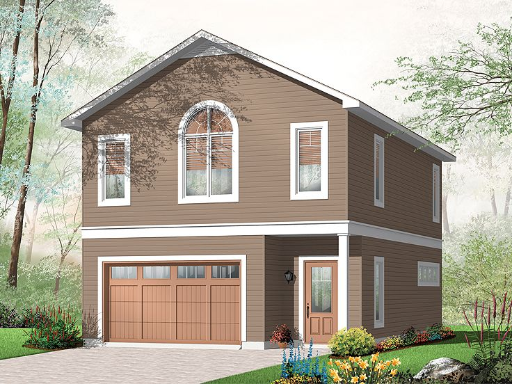 Garage apartment plans carriage house plan with 1 car for Two story garage apartment plans