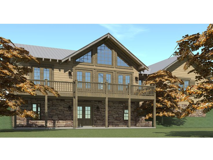 Mountain house plans 1 story mountain home plan 052h for Mountain house plans rear view