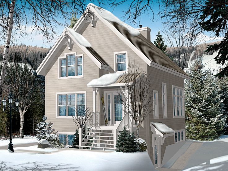 Chalet House Plans   Narrow Lot Mountain Home Plan makes a Cozy    Ski Chalet  H