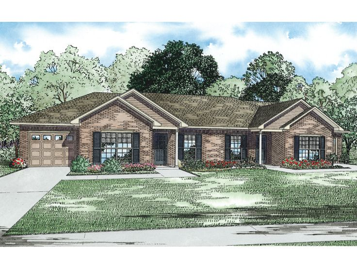 Multi family house plans ranch duplex home plan 025m for Ranch style duplex plans