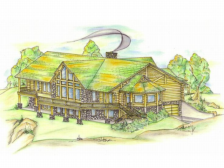 Log House Plan, Rear, 012L-0005