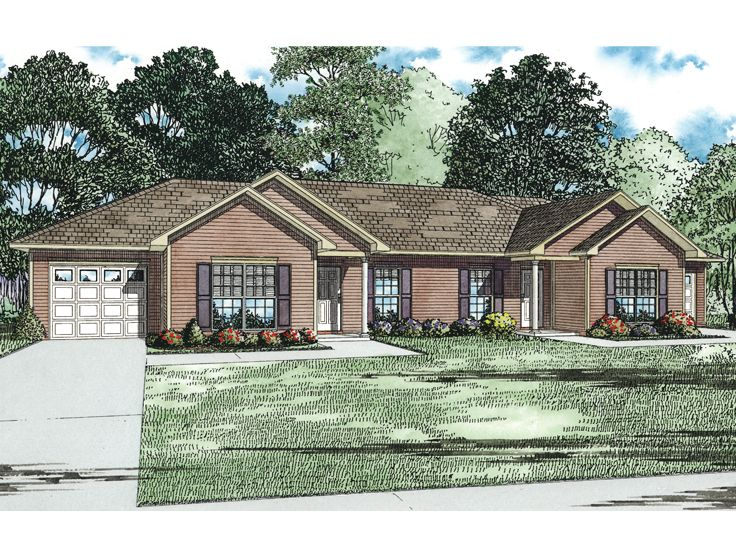 Multi family house plans 1 story duplex home plan 025m for Single story multi family house plans