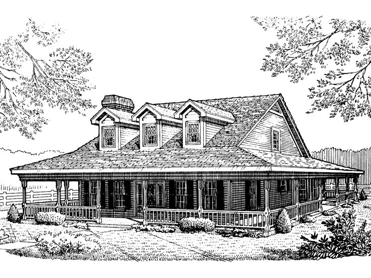 2-Story Country House, 054H-0010