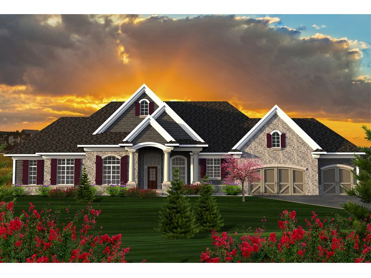 Ranch House Plans | European-Style Ranch Home Plan # 020H-0353 at ...