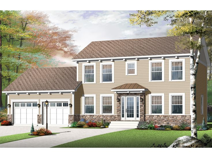 colonial house plans | two-story colonial home plan #027h-0340 at