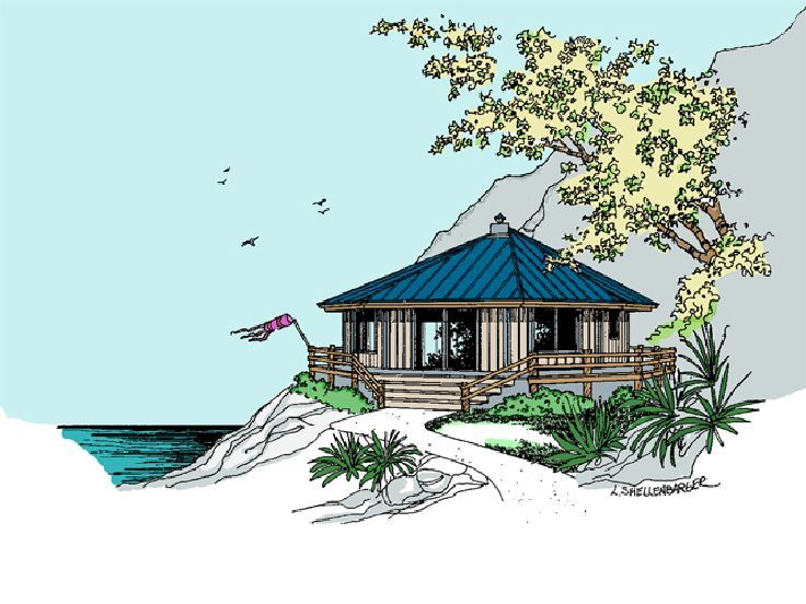 Beach Bungalow Design, 013H-0088