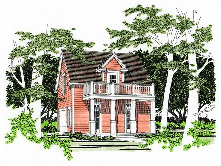 Carriage house plans southern style garage apartment for Small garage apartment plans
