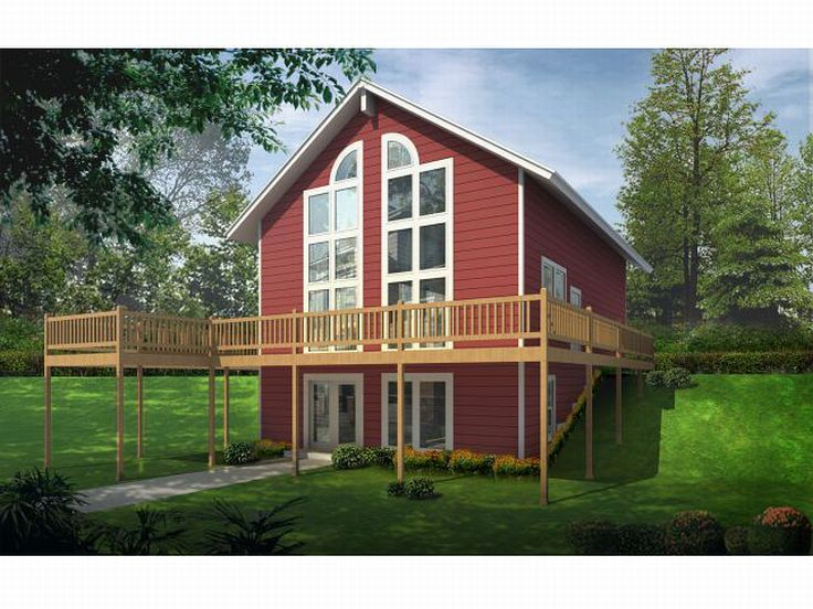 Home plans for sloped lots house plans home designs for Hillside cabin plans