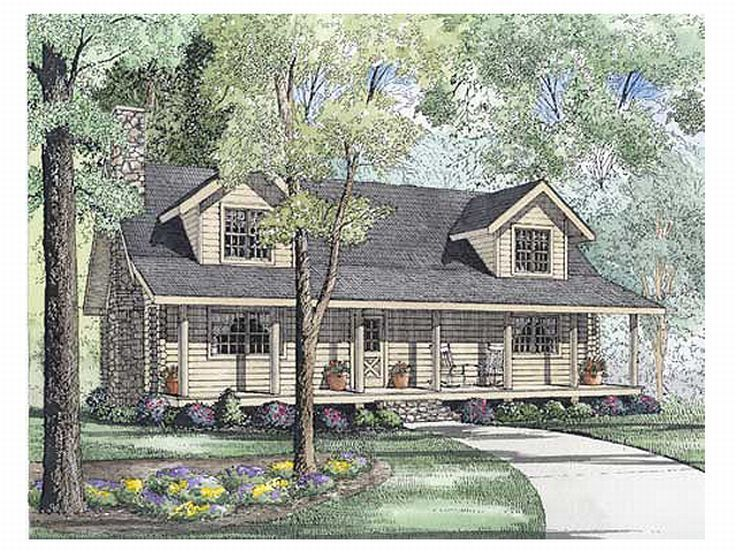 Country Log Home Plan, 025L-0032