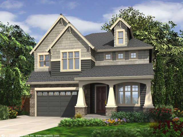 Craftsman house plans two story craftsman home plan fits a narrow lot 024h 0003 at Craftsman home plans