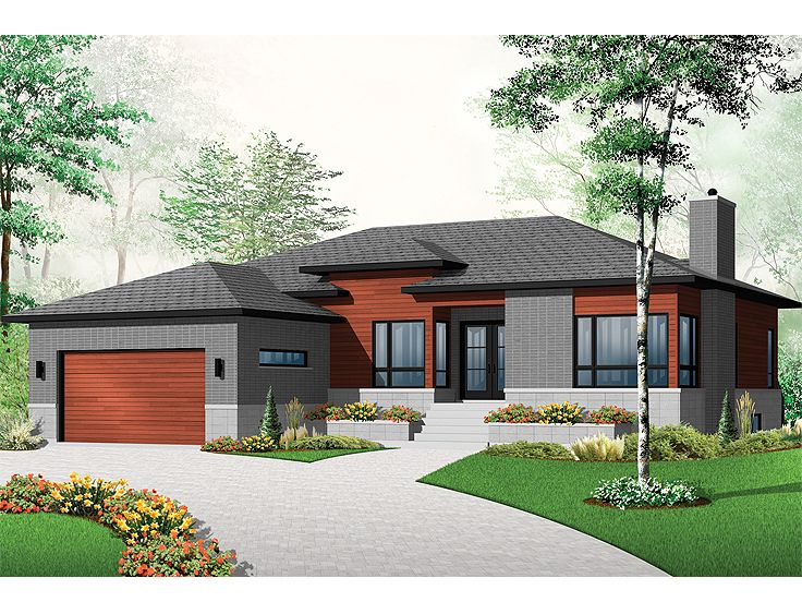 Contemporary house plans modern ranch empty nester home for Empty nester style house plan