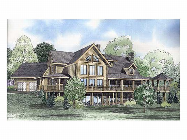 Waterfront Log Home, 025L-0034