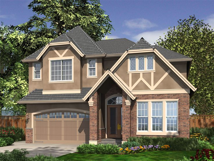 European House Plans | Two-Story European Home Plan with Tudor ...