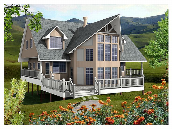 Waterfront house plans two story waterfront home plan for Waterfront house plans