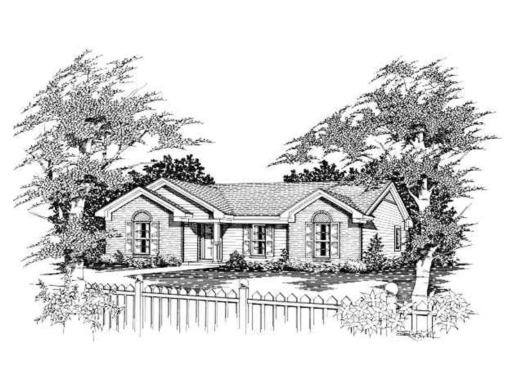 Small Ranch Home Plan, 061H-0001