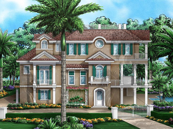 Coastal House Plans Two Story Coastal Home Plan With