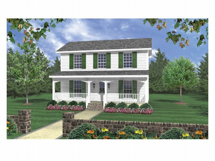Country House Plans 3 bedroom Small Two Story Home Design 001H