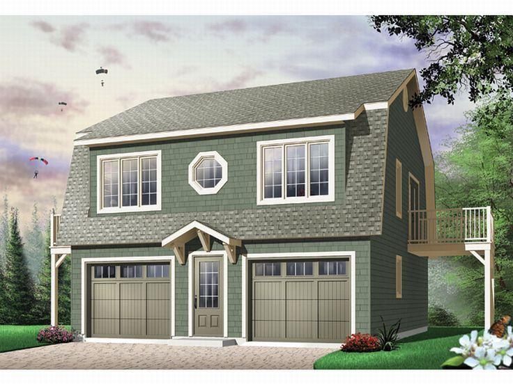 Carriage house plans 2 car garage apartment plan with for Gambrel apartment garage plans