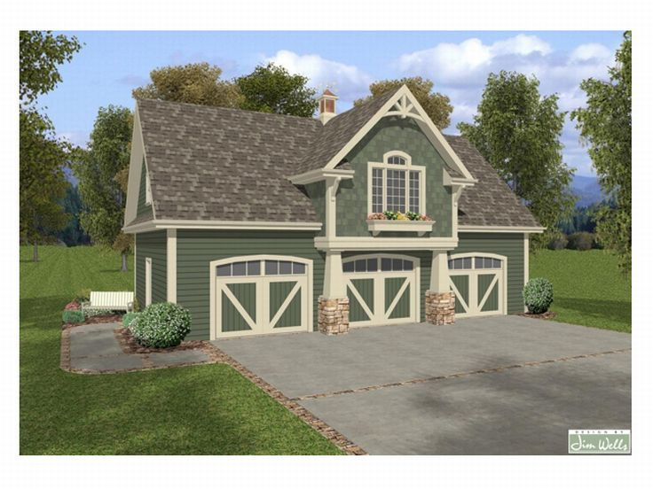 Carriage House Plans | Craftsman-Style Carriage House with 3-Car ...