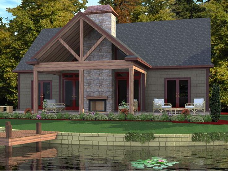 Vacation House Plan, Rear, 073H-0088