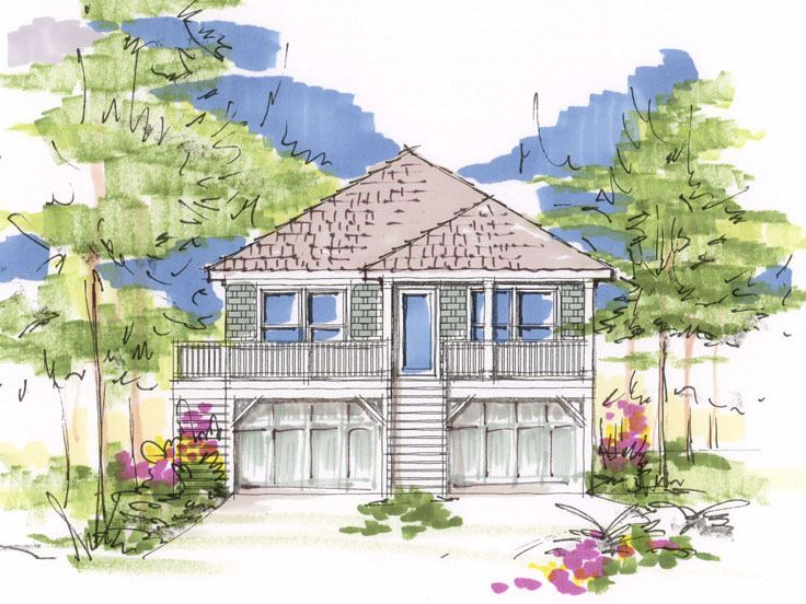 marvelous beach bungalow house plans #9: Beach Bungalow, 041H-0084