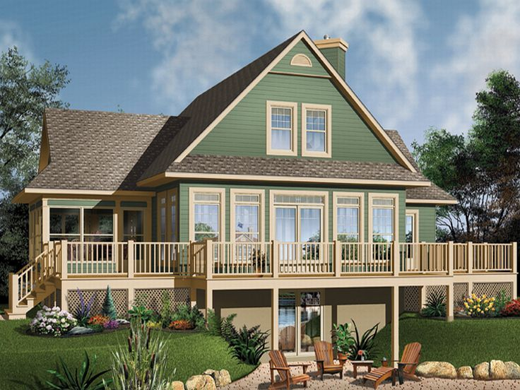 waterfront house plan 027h 0104 - Unique House Plans