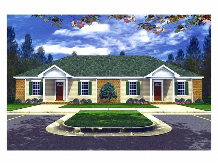 Duplex home plans one story multi family house plan Ranch style duplex plans