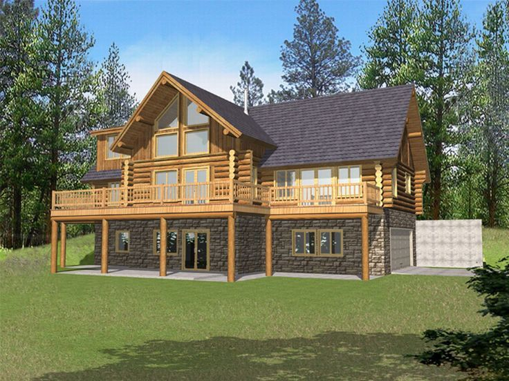 Log House Plan, Rear, 012L-0036