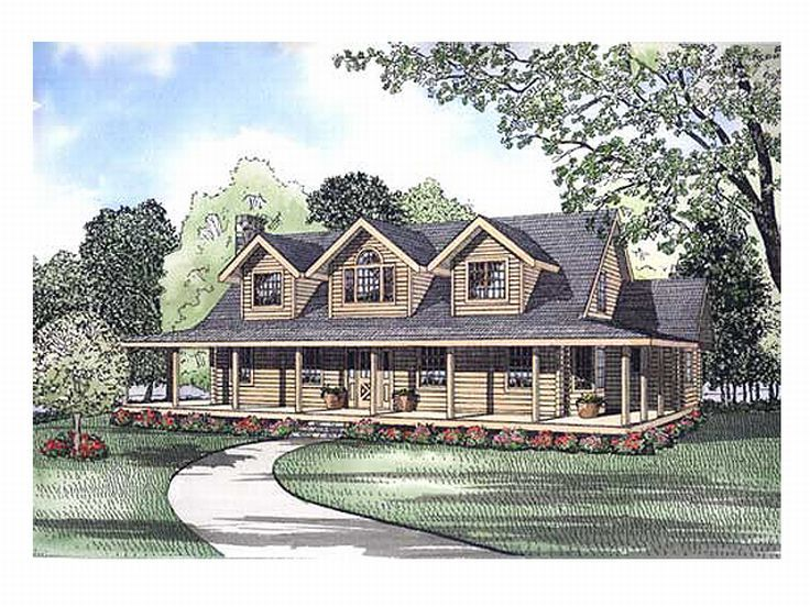 Country Log House Plan, 025L-0027