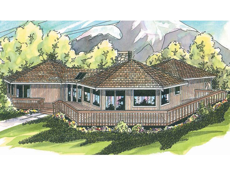 Unique House Plan, Rear, 051H-0003