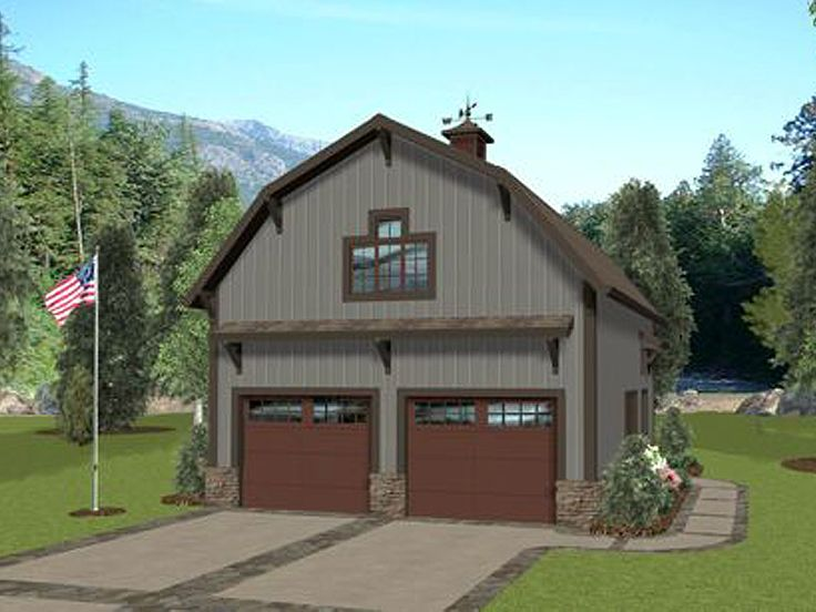 Carriage house plans barn style carriage house plan with for Gambrel house designs
