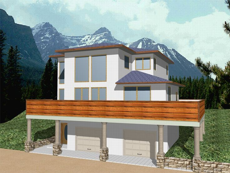 House plans and design modern house plans sloped lot for Sloped lot house plans