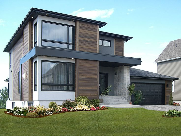 Contemporary house plans modern two story home plan 027h 0336 at - Modern two story houses ...