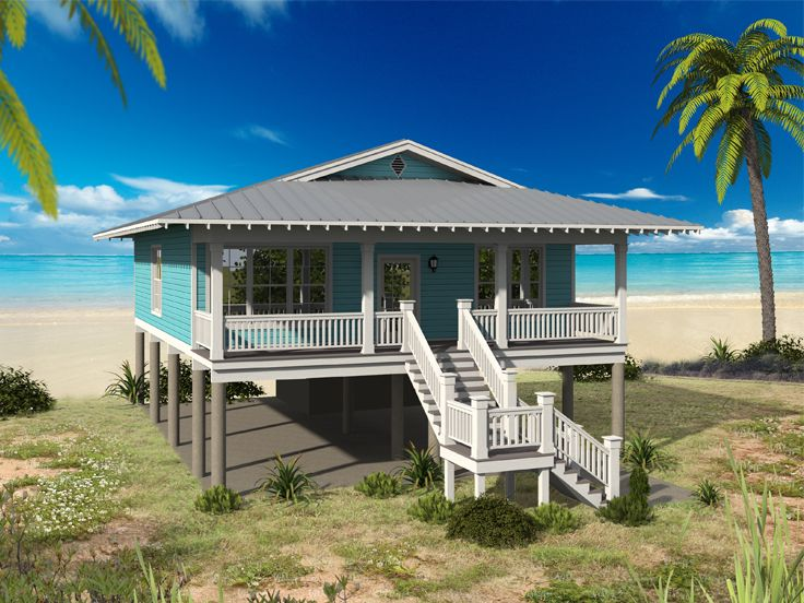Beach House Plan, 062H-0122