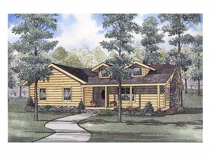 1-Story Log Home Plan, 025L-0051