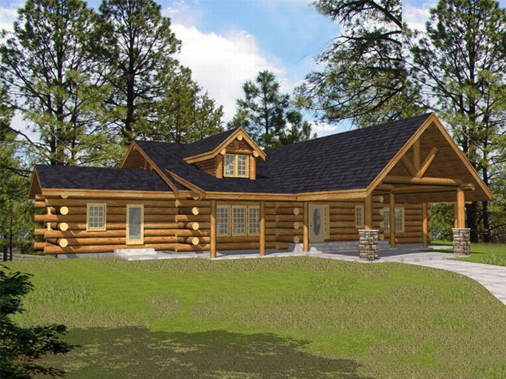 Luxury Log House Plan, 012L-0048