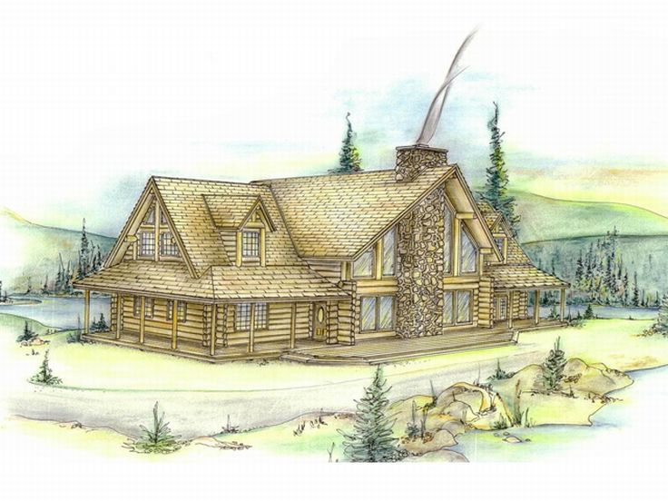 Log Home Plan, 012L-0001