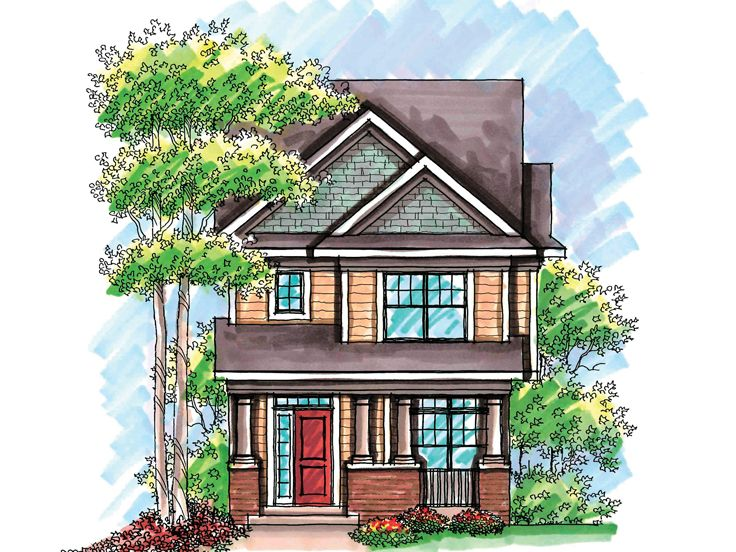 Plan 020h 0200 find unique house plans home plans and floor plans at for Narrow lot house plans