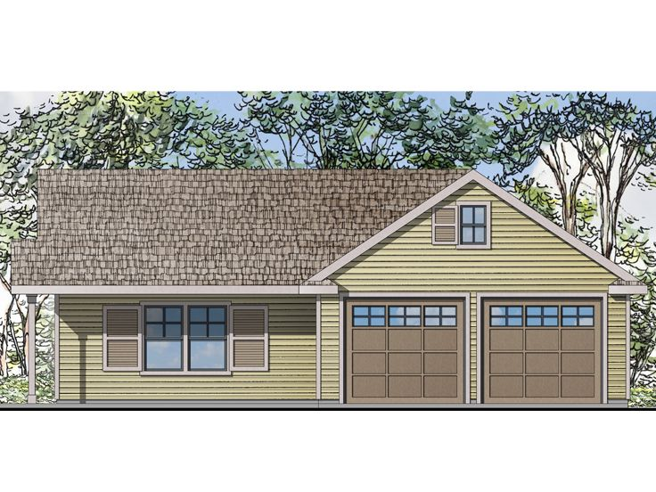 Garage plan with flex space two car garage plan with for One story apartments