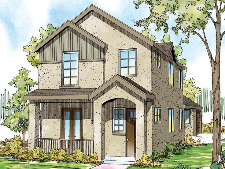 Narrow lot home plans 2 story narrow lot house plan for Narrow lot one story house plans