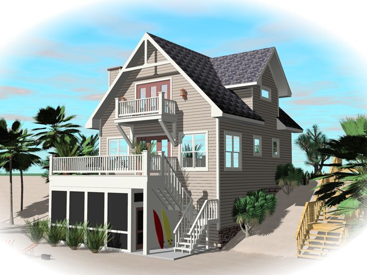Beach House Plan, 006H-0141