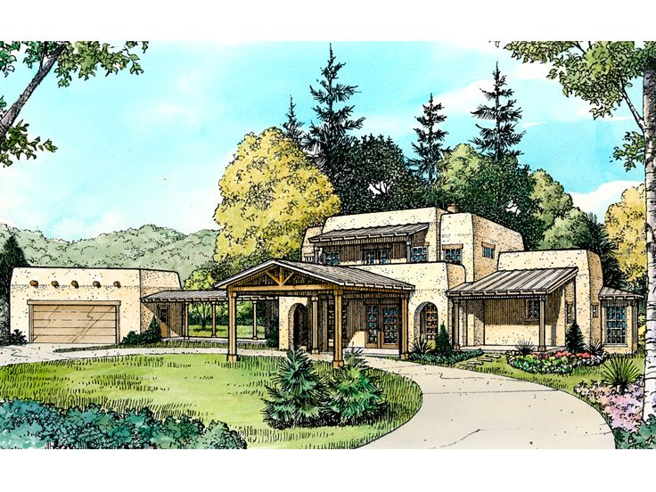 Adobe House Plans Two Story Adobe Home Plan Design 008h