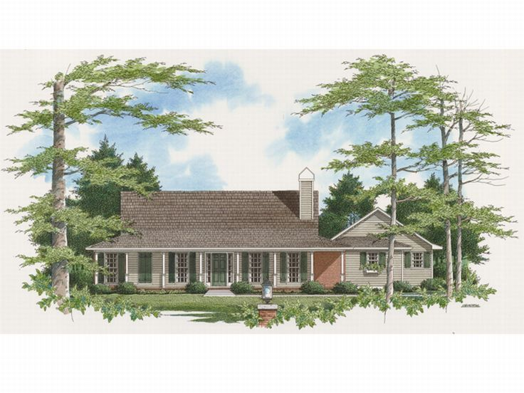 1-Story Country House, 030H-0018