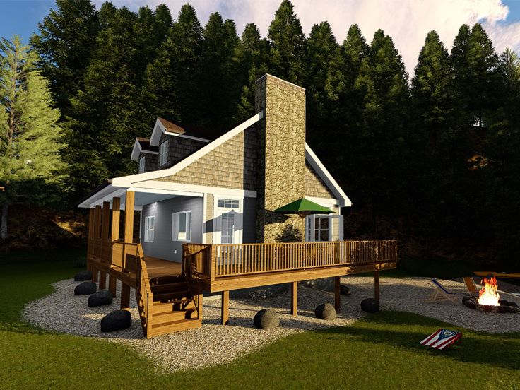 Cabin House Plan, 050H-0144