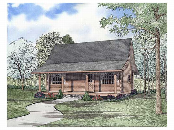 Log Cabin Home Design, 025L-0046
