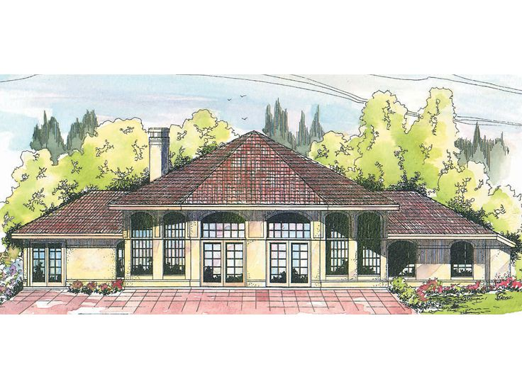 Sunbelt Home Plan, Rear, 051H-0007